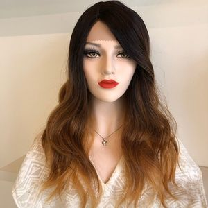 "20"" Black Brown Blonde Ombre Lace Front Wig